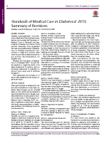 Standards of Medical Care in Diabetes 2015-Revisions